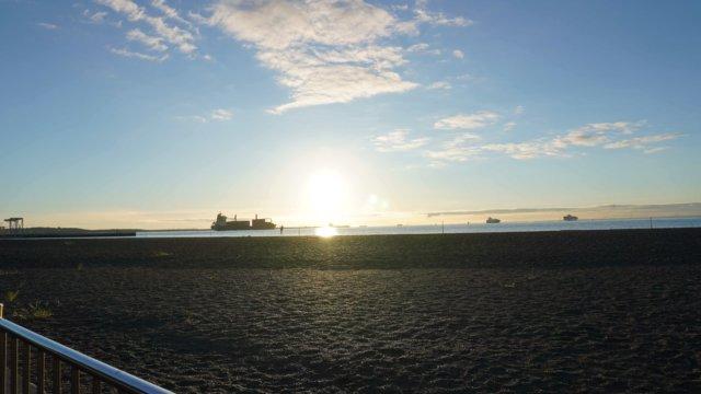 城南島海浜公園 バイク 日の出4